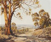 Sale 8938 - Lot 596 - Dudley Parker (1914 - ) - Sunlit Track To Meroo River Valley, Mudgee, 1940s 45 x 55 cm