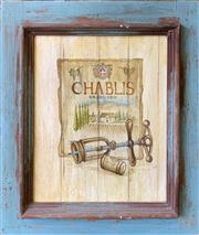 Sale 8962 - Lot 1052 - A Hand-Painted  Wood Panel Sign Chablis, 61 x 63cm