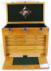 Sale 8994 - Lot 4 - Timber Lockable Jewellery Box (42cm x 52cm x 27cm)