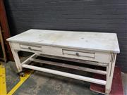 Sale 9034 - Lot 1027 - Rustic Marble Top Bar (h:80 x w:200 x d:78cm)