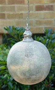 Sale 9066H - Lot 105 - A singular circular Egyptian pierced metal pendant light