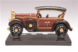 Sale 9107 - Lot 36 - A Cast Iron Car Themed Door Stop, Repaired (H 17cm L 29cm)