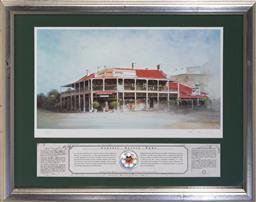 Sale 9113 - Lot 2065 - Rex Newell (1939 - 2016) - Lawson Park Hotel, Mudgee, NSW 22 x 42 cm (frame: 46 x 58 x 2 cm)