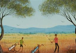 Sale 9133 - Lot 591 - Kym Hart (1965 - ) Country Golf oil on canvas board 12 x 17 cm (frame: 27 x 32 x 2 cm) signed lower right
