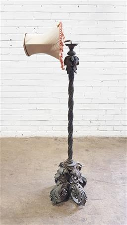 Sale 9142 - Lot 1020 - Early 20th Century Brass Floor Lamp, with writhen partly floral stem & scrolled base - light fitting damaged (h:82cm)
