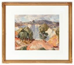 Sale 9190H - Lot 40 - Hans Heysen Landscape, Watercolour,40cm x 50cm, signed & dated lower right.