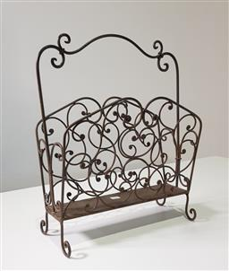 Sale 9191 - Lot 1018 - Scrolled metal magazine rack (h:49cm)