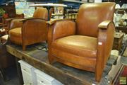 Sale 8412 - Lot 1085 - Pair of Art Deco Club Chairs with Timber Arms