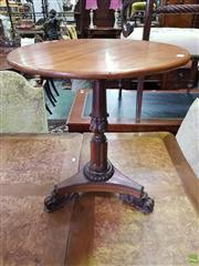 Sale 8617 - Lot 1036 - Small Fine Regency Mahogany Occasional Table, with circular top, turned, fluted & carved pedestal, on a triform base with carved paw...