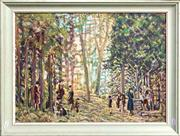 Sale 8682 - Lot 2036 - J P Johnson - Exploring the Woods, 1965, oil on board, 43 x 57cm, signed and dated lower right