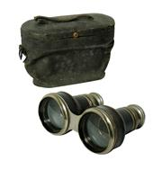 Sale 8828A - Lot 49 - Antique French silver plate and leather trim binoculars in original case, 8 x 12 cm