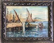 Sale 8964 - Lot 2055 - Italian School Busy Port oil on canvas (AF), 40 x 58cm (frame), signed