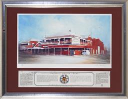 Sale 9113 - Lot 2066 - Rex Newell (1939 - 2016) - Great Western Hotel, Rockhampton, QLD 22 x 42 cm (frame: 46 x 58 x 2 cm)