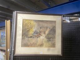 Sale 9111 - Lot 2031 - Edith Baxter?, Country House, watercolour (AF), frame size 48 x 55 cm, signed lower right