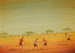 Sale 9161A - Lot 5094 - KYM HART (1965 - ) Country Football oil on canvas board 12.5 x 17 cm (frame: 28 x 33 cm) signed lower left
