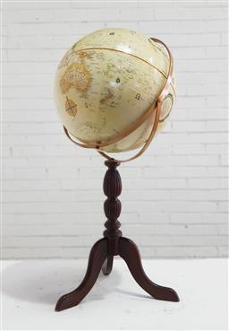 Sale 9129 - Lot 1033 - Large world globe on timber pedestal stand (h93cm)