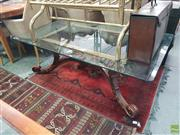 Sale 8593 - Lot 1099 - Glass Top Table on Timber Base