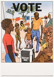 Sale 8696A - Lot 5058 - Redback Graphix Marie McMahon (1953 - ) - Vote (Federal Election, 1987) 78.5 x 66.5cm (sheet: 100 x 70cm)