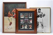 Sale 8733 - Lot 22 - Three Framed Ali Items, Including One With Nine Boxing Cards, And A Signed Painting