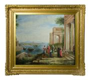 Sale 8828A - Lot 50 - A capriccio of Roman ruins with travellers early European school signed lower left. Oil on canvas 62 x 76 cm