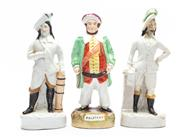 Sale 8873A - Lot 16 - Two staffordshire figures of C17th dressed gents, one with restoration to head and a figure of Falstaff