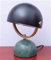 Sale 8891H - Lot 9 - A verdite based semi spherical desk lamp, height approx. 17cm