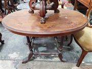 Sale 8925 - Lot 1040 - A victorian inlaid walnut veneered occasional table on associated base