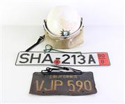 Sale 8952M - Lot 682 - Motorcycle Helmet 1together With A Californian And German Numberplate