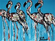Sale 8968A - Lot 5015 - Yosi Messiah (1964 - ) - Marching Blue Flamingos 75 x 100 cm