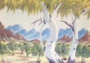 Sale 9021 - Lot 563 - Gabriel Namatjira (1941 - 1969) - Central Australian Landscape 18 x 26 cm (frame: 21 x 29 x 3 cm)