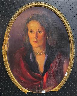Sale 9103 - Lot 2015 - Artist Unknown Portrait of a Lady in Red Coat, oil on board (A.F - losses to frame), frame: 64 x 51 cm, unsigned -