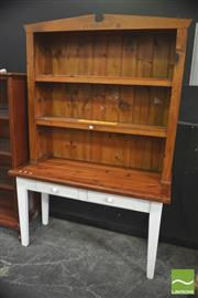 Sale 8406 - Lot 1005 - Painted Bookcase on Table Base w Insert Pennies