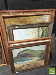 Sale 8413T - Lot 2038 - Group of four original paintings (4) vrious unknown artists, including beach, terrace houses, landscape and abstract