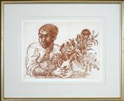 Sale 8449A - Lot 504 - Donald Friend (1915 - 1989) - Boy with Banksia II 37 x 50cm