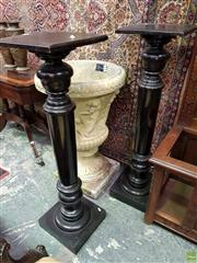 Sale 8576 - Lot 1029 - Pair Victorian Ebonised Pedestals, with turned shaft, square top & plinth
