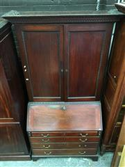 Sale 8666 - Lot 1042 - George III & Later Mahogany Bureau Bookcase, the Victorian top with similar acanthus edge panel doors, enclosing adjustable shelves,...