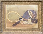 Sale 8682 - Lot 2011 - Artist Unknown Still Life - Tennis, oil on board, 63 x 78cm, unsigned