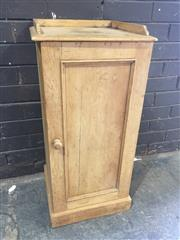 Sale 8976 - Lot 1038 - Late Victorian Pine Bedside Cabinet, with low gallery back & single panel door (H:82 x W:38 x D:35cm)