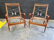 Sale 8984 - Lot 1068 - Set of Five Vintage Maple Chair Frames with Spring Seat and Backs All Having Hoop Arms