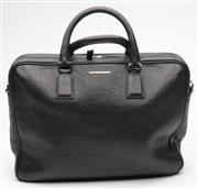 Sale 9080F - Lot 39 - AN ERMENEGILDO ZENGA BLACK LEATHER BUSINESS BAG; with rolled top handles, side handle and detachable woven adjustable strap, front a...
