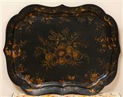 Sale 9071H - Lot 55 - A Victorian papier mache serving tray with shaped border (damaged) width 83cm x Depth 63cm
