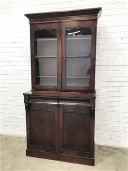 Sale 9097 - Lot 1075 - Early Victorian Mahogany Bookcase, with two shield shaped astragal doors, above two frieze drawers & two matching timber panel doors...