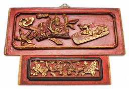 Sale 9156 - Lot 19 - Chinese carved panels (2) (W:40cm and 30cm)
