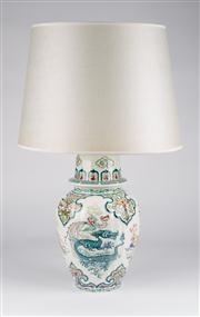 Sale 8350L - Lot 18 - A pair of hand painted polychrome urn lamps with cream shades, total H 66cm, RRP $ 2200, by Boch Belgium