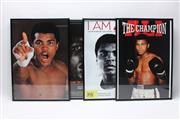 Sale 8733 - Lot 24 - Four Small Framed Ali Posters, Each With An Ali DVD To Reverse