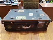 Sale 8908 - Lot 1099 - Vintage Leather Suitcase with Travel Stickers