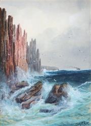 Sale 8914 - Lot 2023 - James Swinton Diston (1857 - 1940) Coastal Cliff Scene and Steamer in the Distance watercolour and gouache, 33 x 24cm, signed -