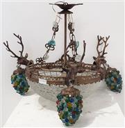 Sale 9080 - Lot 1085 - Stag Themed Hanging Light Fitting (45 x 40cm)