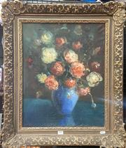 Sale 9087 - Lot 2001 - E. Durdure (C20th) Still Life - Roses in Blue Vase oil on canvas (AF) 68 x 58cm (frame) signed lower left -