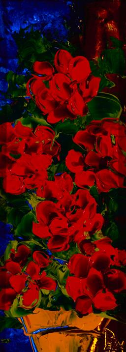 Sale 9174JM - Lot 5063 - DEAN VELLA (1958 - ) Red Geraniums oil and acrylic on board 49.5 x 17 cm (frame: 97 x 65 x 4 cm) signed lower left